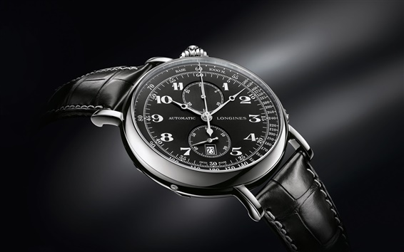 Wallpaper Longines Avigation watch, black style