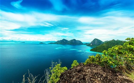 Wallpaper Malaysia beautiful landscape, Bohey Dulang Island, sea, coast, mountains