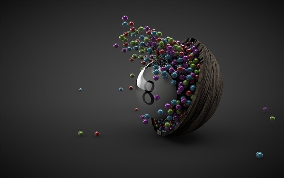Обои Многие шары, чаши, восемь, серый фон, 3D дизайн