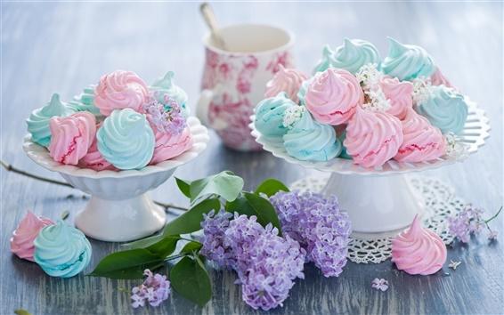 壁紙 メレンゲ、甘いケーキ、カラフル、食品、ライラックの花