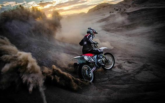 Wallpaper Motorcycle race, sports, dust