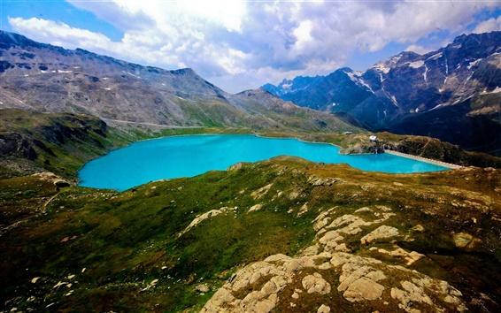 Fond d'écran Montagnes, lac, réservoirs, barrages, herbe, nuages