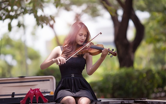 Wallpaper Music girl, Asian, violin