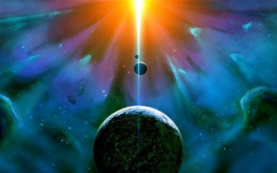 Wallpaper Nebula, universe, planet, satellite, glare light