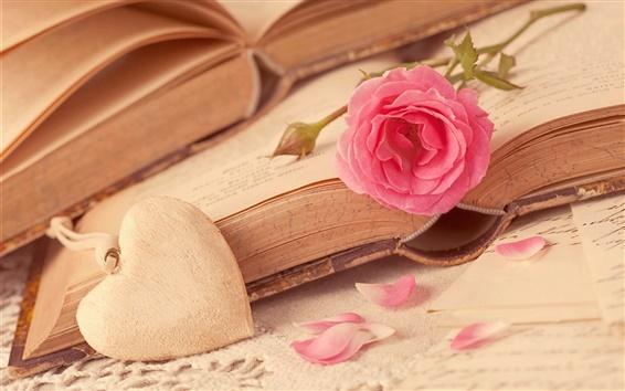 Wallpaper Pink rose flower, love hearts, book