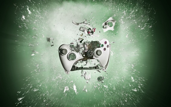 Wallpaper Playstation gamepad smashing into pieces, creative pictures