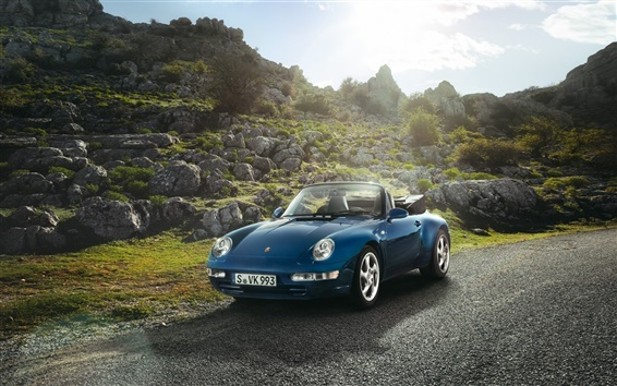 Wallpaper Porsche Carrera convertible car, blue color, sun