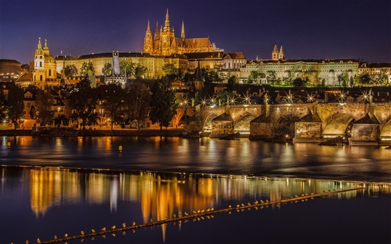 Wallpaper Prague, Czech Republic, Charles Bridge, Vltava river, night, lights