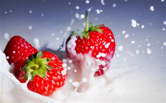Wallpaper Red strawberries splash whipped cream