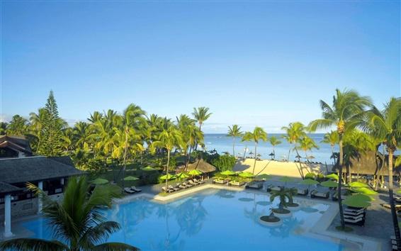 Fond d'écran Resort, mer, palmiers, piscine de natation, Maurice