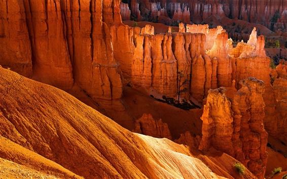 Fondos de pantalla Rocas, barranco, montañas, desierto, puesta del sol