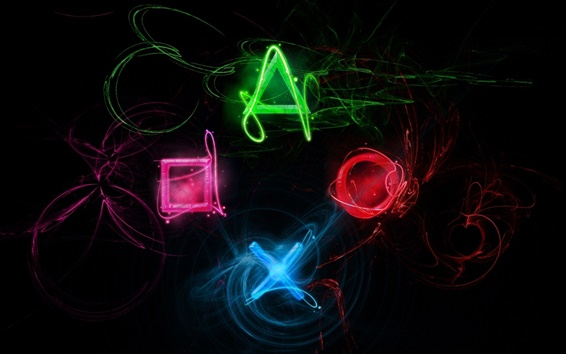 Wallpaper Sony Playstation creative logo, colorful colors