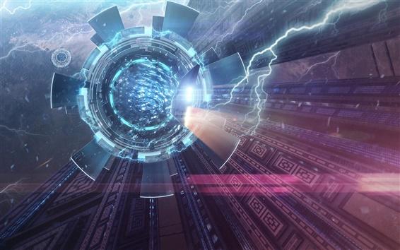 壁紙 宇宙船、スペース、光、ファンタジーデザイン