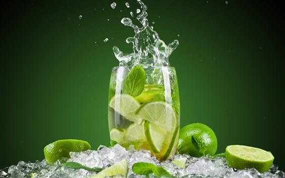 Papéis de Parede Verão bebidas mojito, verde limão, gelo, copo, respingo de água