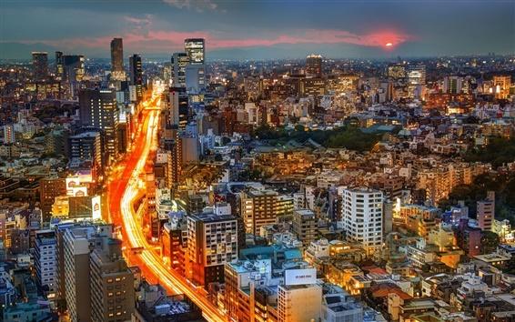 Wallpaper Sunset city, buildings, lights, road, Tokyo, Japan