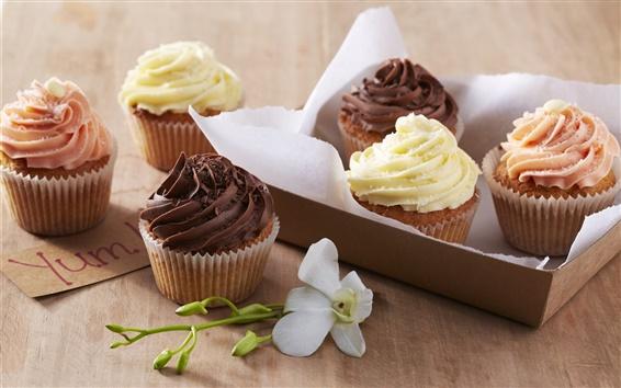 Wallpaper Sweet cream cakes, dessert, cupcakes, chocolate, flower