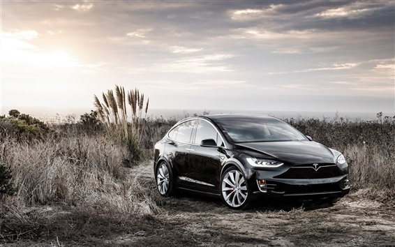 Обои Tesla Model X черный электрический автомобиль