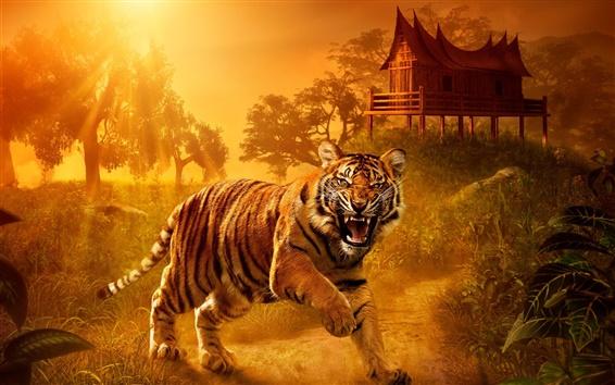 Papéis de Parede Tiger close-up, predador, olhos, dentes, casa, pôr do sol