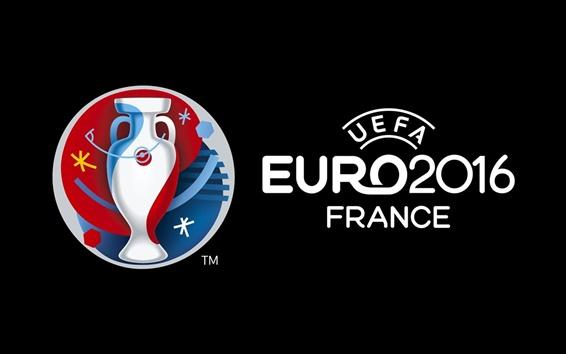 Wallpaper UEFA EURO 2016 France logo, black background