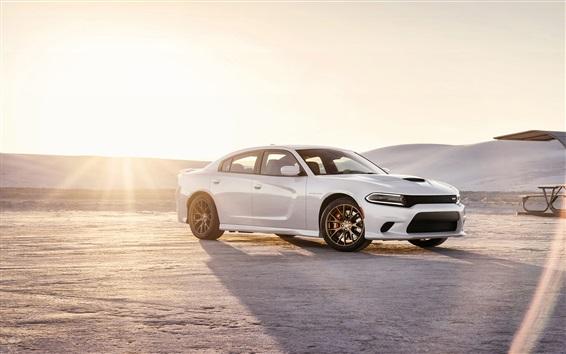 Fond d'écran 2015 Dodge Charger SRT voiture blanche au coucher du soleil
