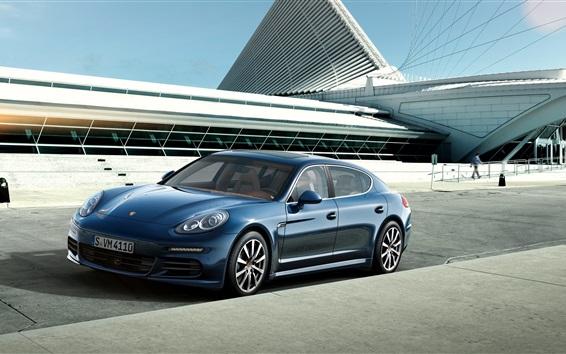 Обои 2015 Porsche Panamera 4S синий суперкар