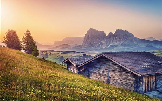 Fond d'écran Alpes, montagnes, cabanes, crépuscule, herbe