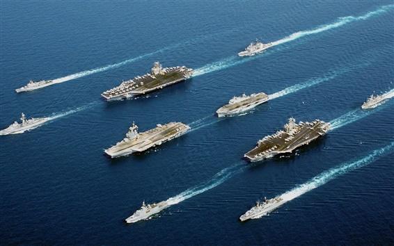 Обои Удивительный флот, боевые корабли, море