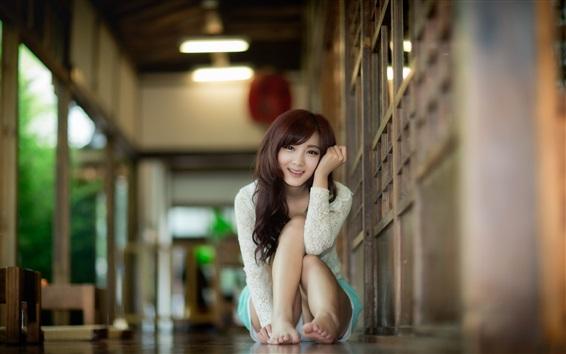 Wallpaper Asian girl smile, posture, house, bokeh