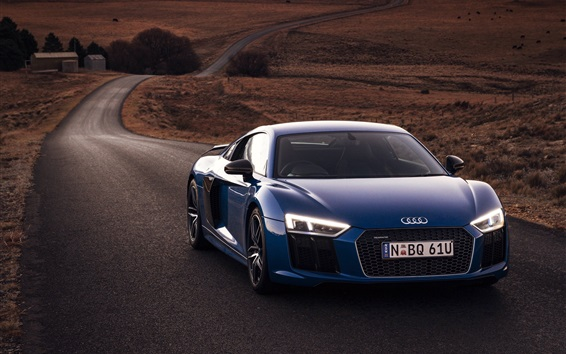 Обои синий автомобиль вид спереди Audi R8 V10, фонари