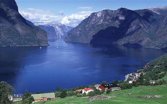 Wallpaper Aurlandsfjord, Sogn og Fjordane county, Norway
