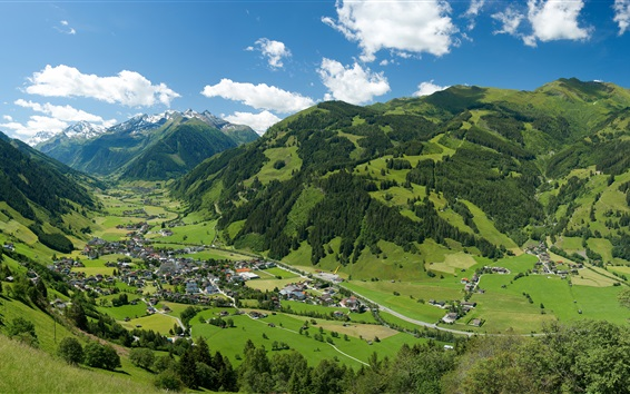 Wallpaper Austrian Alps, mountains, trees, village, houses, top view