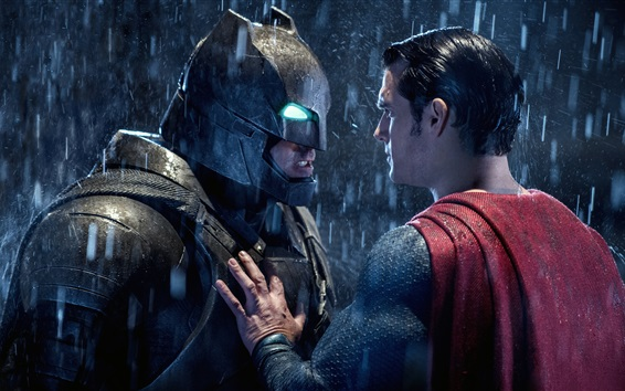 Wallpaper Batman v Superman 2016, heroes face to face