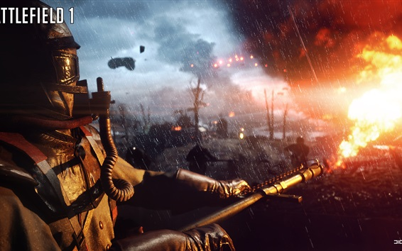 Wallpaper Battlefield 1, flamethrower, rain