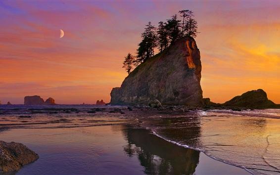 Fondos de pantalla Playa, mar, costa, puesta del sol, Parque Nacional Olympic, Washington, EE.UU.