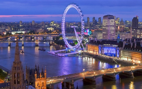 Wallpaper Beautiful London night view, skyline, river, bridge, lights, buildings, UK