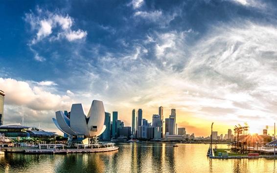 Wallpaper Beautiful Singapore, city, dock, skyscrapers, clouds, dawn, sunrise