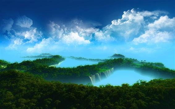 Papéis de Parede paisagem, paraíso, ilhas, árvores, nuvens, mar azul bonito