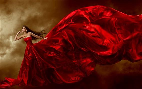Wallpaper Beautiful red dress girl, jewelry, long hair, curls, art posture