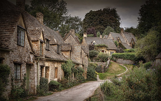 Wallpaper Beautiful town, trees, houses, Arlington Row, Bibury, England
