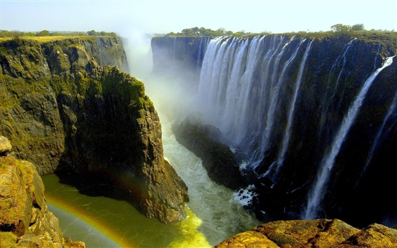 Wallpaper Beautiful waterfalls, Victoria Falls, Livingstone, Africa