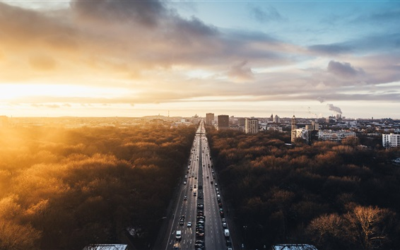 Wallpaper Berlin, Germany, city landscape, road, traffic, buildings, trees, sunset