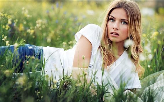 Wallpaper Blonde girl lying the grass, summer
