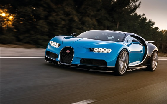 Wallpaper Blue Bugatti Chiron supercar speed