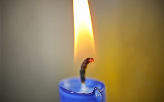 Wallpaper Blue candle, fire and flame, wick