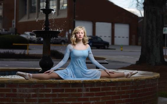 Wallpaper Blue dress girl, ballerina, blonde, fountain