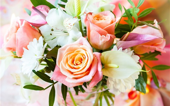 Wallpaper Bouquet flowers, rose, daisy, orchid, calla, vase