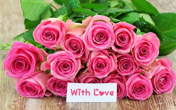Wallpaper Bouquet pink rose flowers, with love