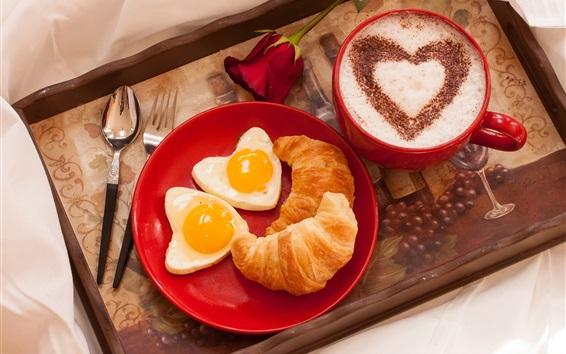 Wallpaper Breakfast, croissant, love heart eggs, rose, coffee, Valentine's Day