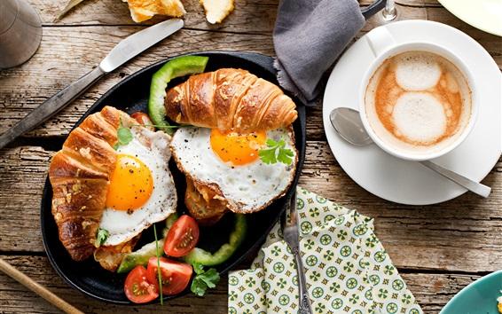 壁紙 朝食、食品、パン、目玉焼き、トマト、コーヒー
