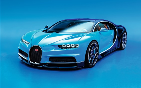 Wallpaper Bugatti Chiron blue supercar
